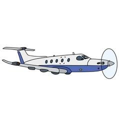 Flying small propeller airliner vector
