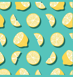 fruit seamless pattern lemons with shadow vector image