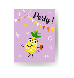 fruit summertime party banner with ripe yellow vector image