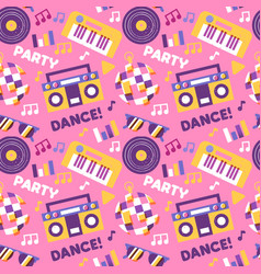 fun club dance party icon seamless pattern vector image