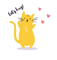 funny yellow cat that wants to hug vector image