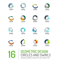 Geometric abstract circles and swirls icon set vector image