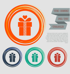 Gift box icon on the red blue green orange vector