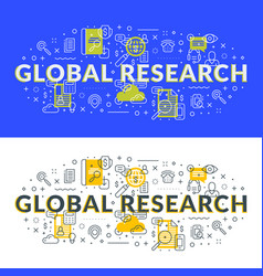 global research flat line concept for web banner vector image