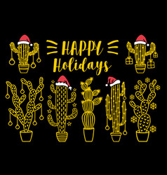 gold christmas cacti cacteen set vector image