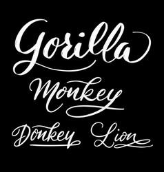 Gorilla animal hand written typography vector