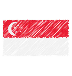 hand drawn national flag of singapore isolated on vector image