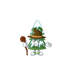 Happy halloween witch christmas tree snow cartoon vector