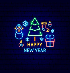 happy new year neon label vector image