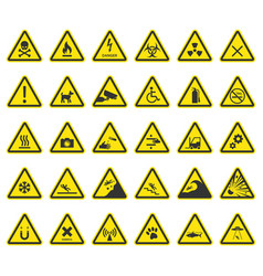Hazard warning signs caution icons vector