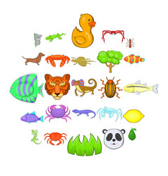 herbivores icons set cartoon style vector image