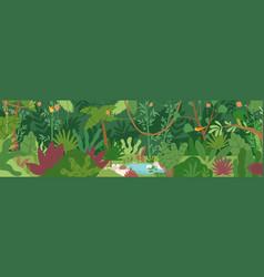 Horizontal landscape tropical jungle panoramic vector