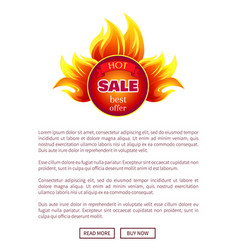 hot sale round burning badge with best promo offer vector image