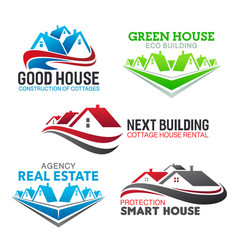 house construction real estate agency icons vector image