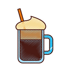 Iced coffee glass icon vector