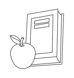 Isolated book and apple school design vector