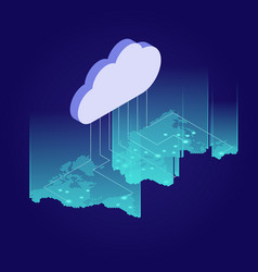 Isometric web banners for cloud computing services vector