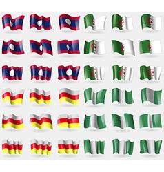 Laos Algeria North Ossetia Nigeria Set of 36 flags vector