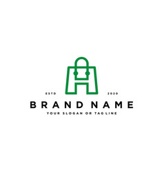 Letter h shopping bag logo design vector