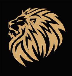 lion head gold golden logo icon template vector image