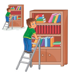 little boy standing on the ladders and vector image