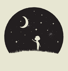 Little kid boy looks to crescent moon vector