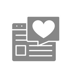 love article on internet grey icon website vector image