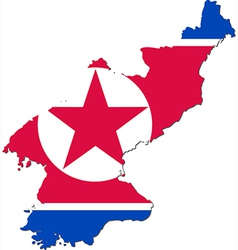 map north korea with national flag vector image