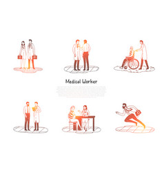 medical worker - medical workers taking care vector image