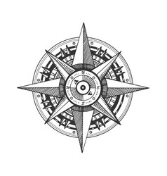 Medieval wind rose engraving vector