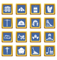 miner icons set blue vector image