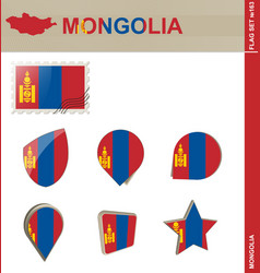 Mongolia flag set flag set 163 vector