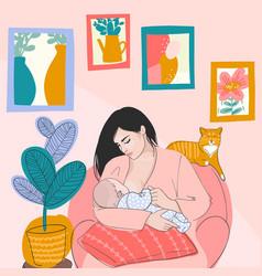 mother and baand orange cat vector image