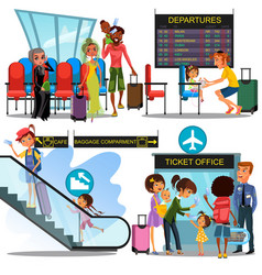multinational people in airport waiting room man vector image