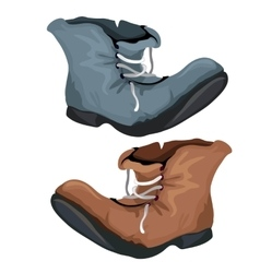 Old worn shoes brown and gray color vector image