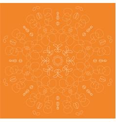 Orange abstract linear rosette vector
