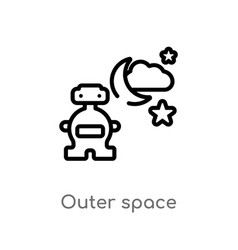 Outline outer space icon isolated black simple vector