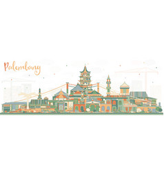Palembang indonesia city skyline with color vector