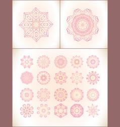 Pink mandala laces set vector