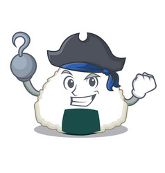Pirate onigiri character cartoon style vector