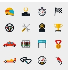 Race car track and racing flag modern flat icons vector image