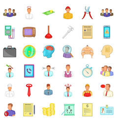 resume icons set cartoon style vector image