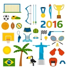 Rio summer olympic games icons vector