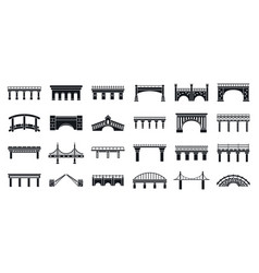 Road bridges icons set simple style vector