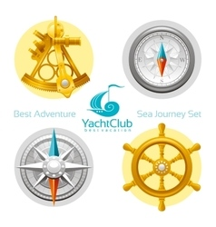 Sea travel icon set with seafaring icons sextant vector