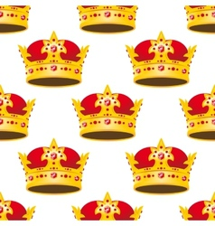 Seamless golden crowns with gems pattern vector
