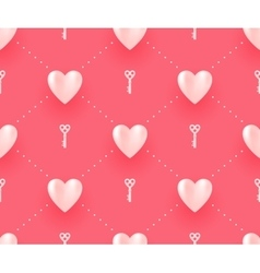 Seamless pattern with white hearts and keys on a vector image