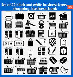 set of beautiful black and white business icons vector image
