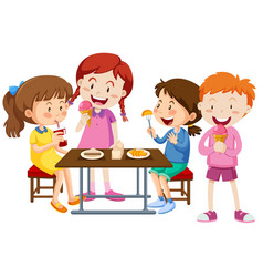 Set of children eating together vector