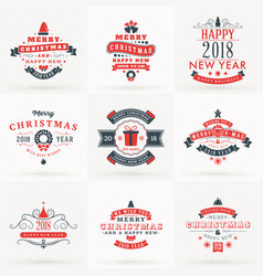 Set of merry christmas and happy new 2018 year vector